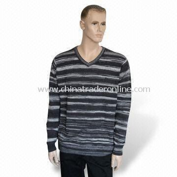 Mens Knitted Pullover/Sweater/Knitwear, Made of 50% Acrylic and 50% Cotton