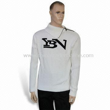 Mens Knitted Sweater, Made of 50% Acrylic and 50% Cotton