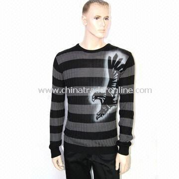 Mens Knitted Sweater/Knitwear with Stripes and Spray Paint at Front from China