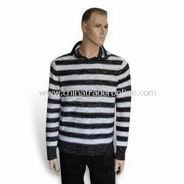 Mens Sweater, Knitted Pullover Knitwear, Made of 83% Cotton Tube Yarn and 17% Polyester Boucle