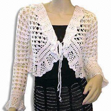 Womens 100% Cotton Knitted Crochet Sweater
