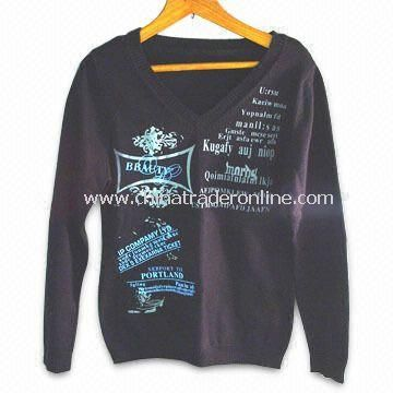 Womens Cotton Machine Knit Sweater with Printing