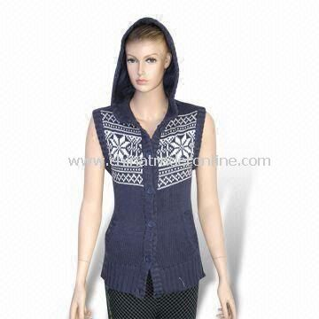 Womens Knitted Cardigan Sweater, Made of 50% Acrylic and 50% Cotton Materials