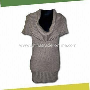 Womens Knitted Dress, Made of 55% Wool and 45% Acrylic from China