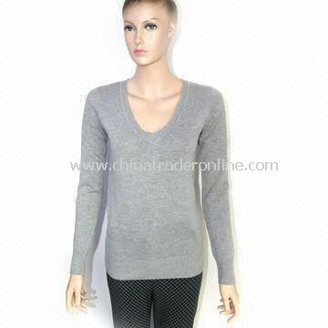 Womens Knitted Pullover Sweater, Made of 50% Acrylic and 50% Cotton