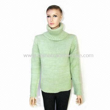 Womens Knitted Pullover Sweater, Made of Acrylic and Cotton