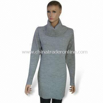 Womens Knitted Pullover/Sweater Knitwear, Made of 95% Acrylic and 5% Polyester