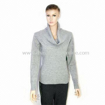 Womens Knitted Pullover Sweater with Long Sleeves, Made of Acrylic, Turtle Neck