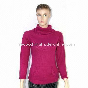 Womens Knitted Pullover Sweater with Turtle Neck Design and Long Sleeves