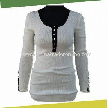 Womens Knitted Sweater, Made of 60% Model, 40% Cotton