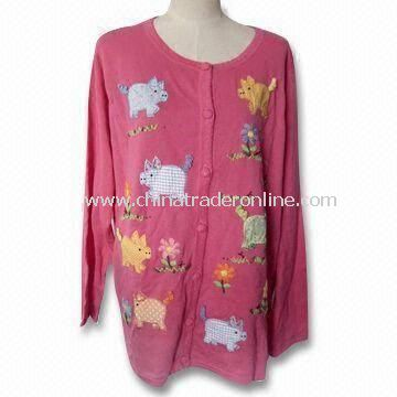 Womens Knitted Sweater/Cardigan in Big Size with Print and Embroidery, Long Sleeves