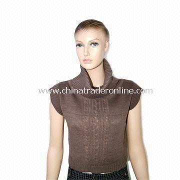 Womens Knitted vest Sweater, Sleeveless, Made of Acrylic and Cotton, with Turtle Neck