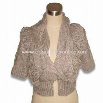 Womens Sweater, Made of 100% Acrylic, Knitted by Needles