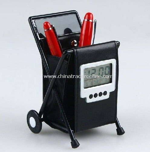 10 pcs Hot selling leather folding pen holder digital alarm clock