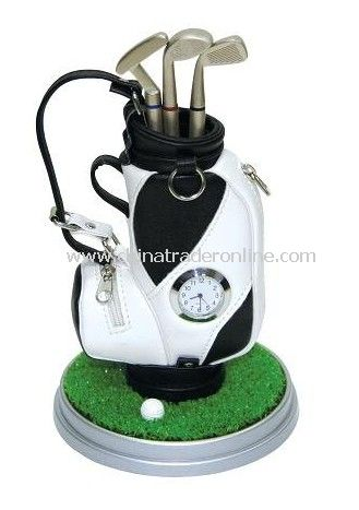 5pcs/lot, Golf Pen Holder with Clock, Pen Holder, Promotion Gift, Novelty Gift