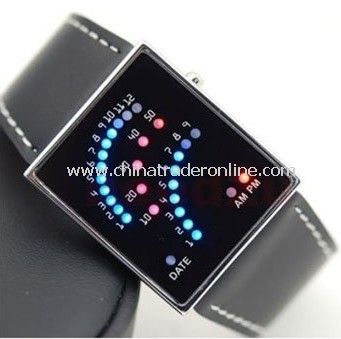 Leather Band Sector LED Watch