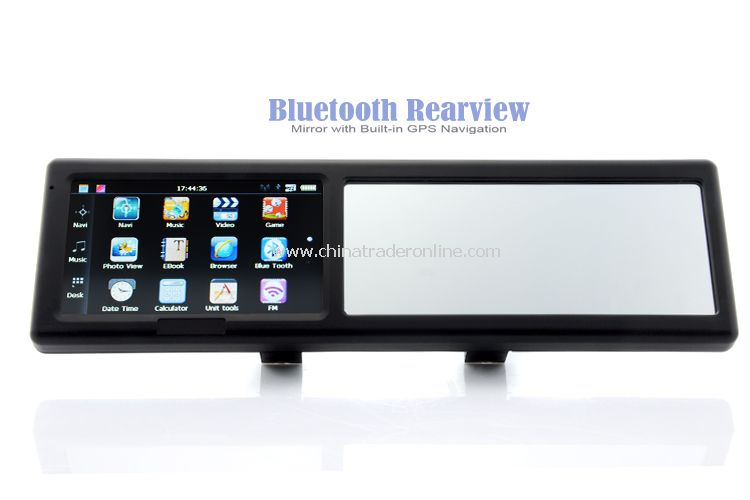 4.3 Inch Bluetooth Rearview Mirror with Built-in GPS Navigation