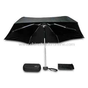 5-fold Super Mini Umbrella (Convenience for Travel), Measuring 19-inch x 8 Ribs