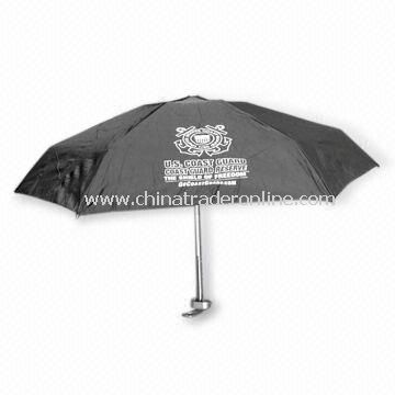 5-fold Travel Umbrella with Manual Open, Aluminum Shaft and 91cm Diameter