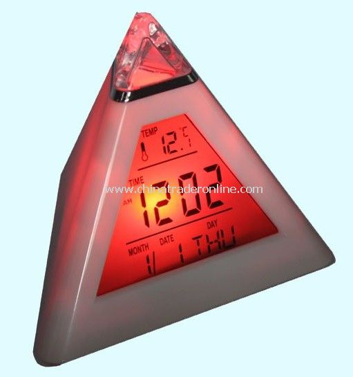 7 Color LED Digital Alarm Clock Triangle Pyramid Travel alarm