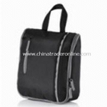Black Nylon Travel Toiletry Kit with Handle for Man, Customized Logos are Accepted