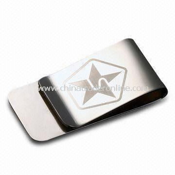 Delicated Money Clip, Made of Stainless Steel, Various Logos and Designs are Available