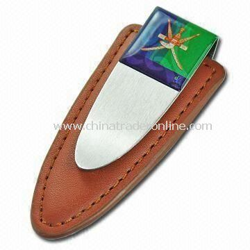 Money Clip for Promotional Gifts, Made of Leather, Customized Colors are Accepted