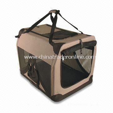 Pet Carrier with Built-in Safety Leash, Made of Powder Coated Steel and Water-resistant Fabric