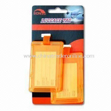 Plastic Luggage Tag, Available in Orange Color, Made of PS Materials