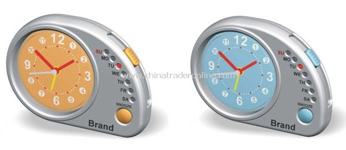 Quartz Alarm Clock Use as Promotional Gift, Travel Clock with Day Indicator
