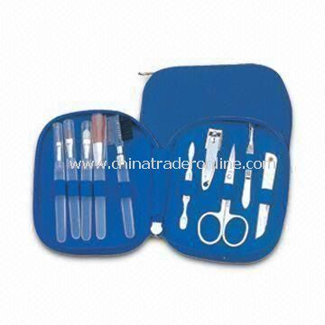 10-in-1 Makeup Kit and Manicure/Pedicure Set with PU Leather Pouch and Big Space for Logo on Pouch