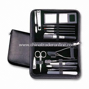 16-in-1 Makeup Kit and Manicure/Pedicure Set with PU Leather Pouch and Big Space for Logos