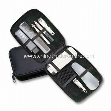 8-in-1 Makeup Kit and Manicure/Pedicure Set with PU Leather Pouch and Big Logo Space on Pouch