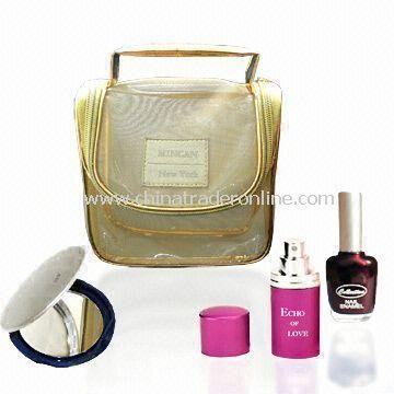 Golden Mesh Makeup Carry Bag with Pocket Mirror and Perfume Atomizer