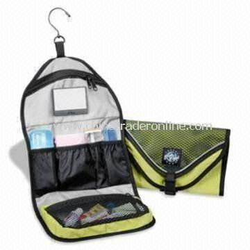 Hanging Toiletry Bag, Made of Microfiber, Customized Sizes are Accepted