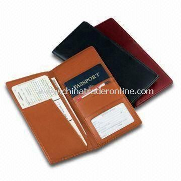 Leather Passport Covers and Airline Ticket Holders, Printed Logo Available