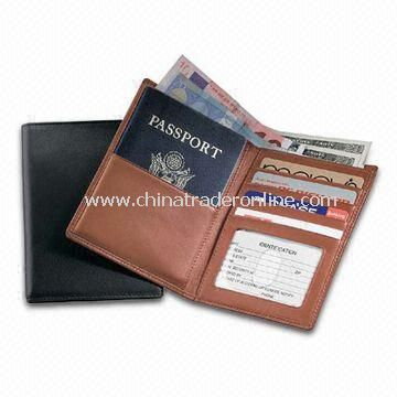 PU Leather Passport/Currency Wallet with Three Business Card Pockets