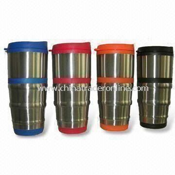 Stainless Steel Travel Mugs with 16oz Capacity and Plastic Lid