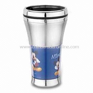 Travel Mug, Customized Designs are Accepted, Made of Stainless Steel/Plastic