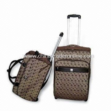 EVA Trolley Set with Classical Look, Handle and 2-skate Wheels, Includes Rolling Duffel Bags