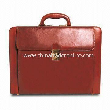 Expandable Leather Attache Case with Outside Pocket and Business Card Slots
