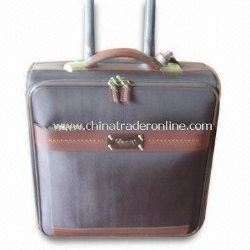 Flight/Trolley Bag with Nylon Lining, Made of Full Grain Leather