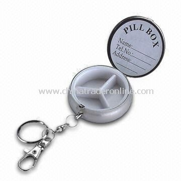 Keyring Pill Box, Suitable for Gifts and Promotional Purposes