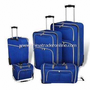 Luggage Set with In-line Tractor Wheels and Silver Zipper, Made od 600D Polyester