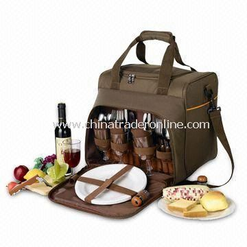 Picnic Carry Bag, Made of 600D Polyester + Aluminum Foil Lining Fabric, Big Food Compartment