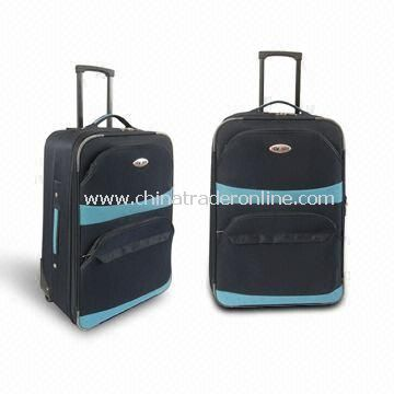 Trolley Case/Luggage Set with Elastic Flat Handle at Top and Side, Made of 600D Polyester