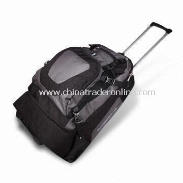 Trolley Luggage Bag with Lightweight Handle, Compartments for Documents Available