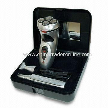 3-in-1 Mens Grooming Set, Includes 4 Shaving Bits Rechargeable Shaver B/O Nose and Hair Trimmer