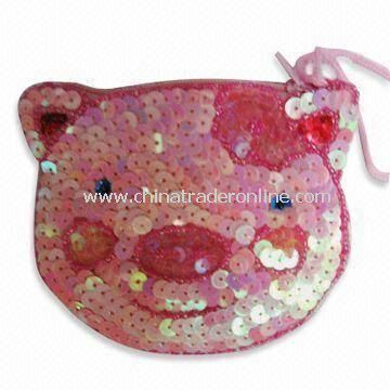 Bear-shaped Coin Purse, Made of Sequin in Pink, Available in Various Colors