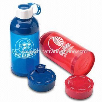 Dual Purpose Promotional Bottles with Pill Box and Capacity of 21oz, Heavy Duty Construction